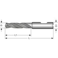Solid carbide high-performance drill 5xD 10,5mm IC D1=HB TiN